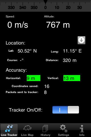 Livetracker24lite - Hauptbildschirm