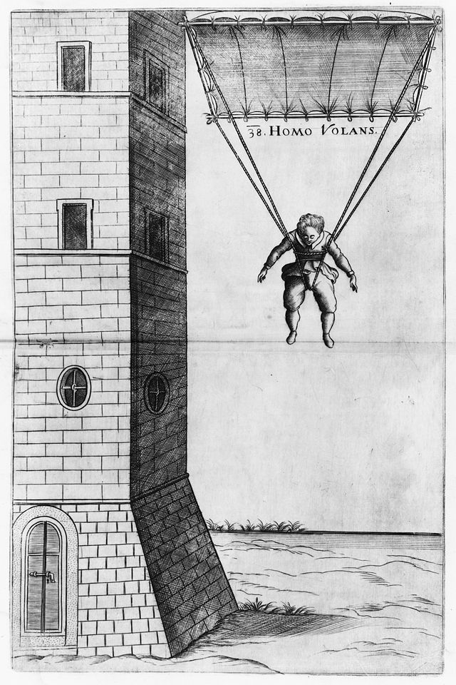 """Homo Volans"", an illustration by Faust Vrančić, depicting an early parachute of his own design (based on the work of Da Vinci)"