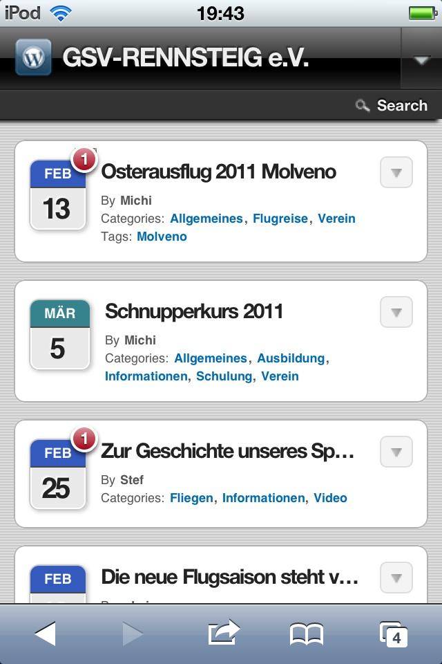 Mobile Darstellung - Homepage auf Smartphone