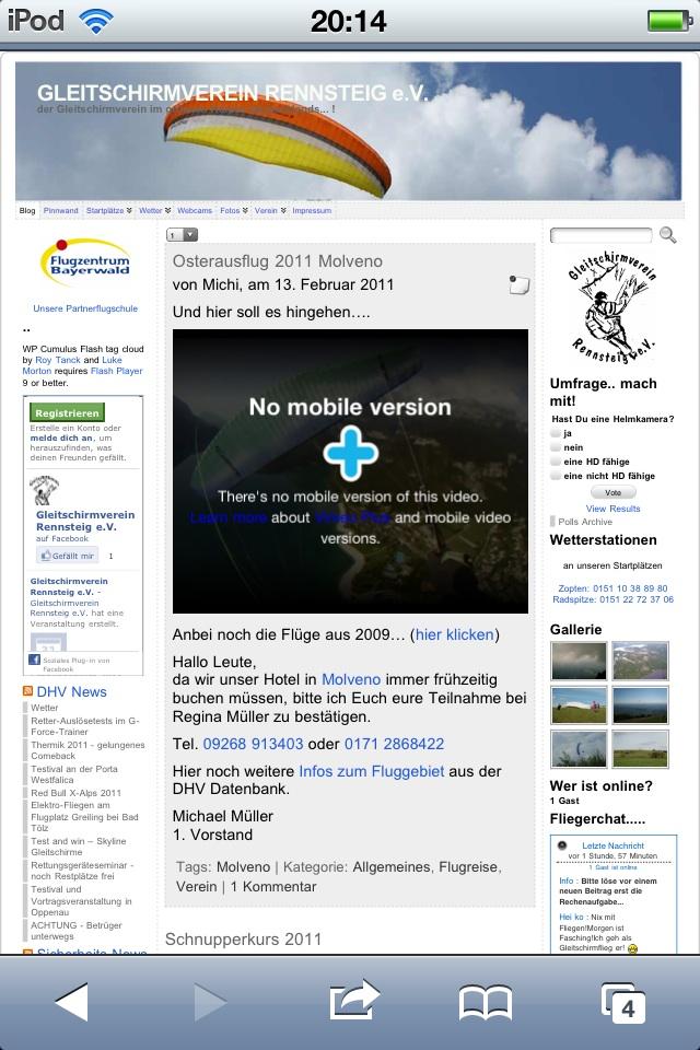 Normale Darstellung - Homepage auf Smartphone